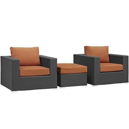 Modway Sojourn Collection 3 PC Outdoor Patio Sectional Set with Sunbrella Fabric, Powder Coated Aluminum Frame, Synthetic Rattan Weave Material, Water and UV Resistant in