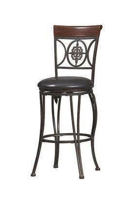 Linon 02733MTL01KDU Fleur de Lis Series Residential or Commercial PVC Upholstered Bar Stool