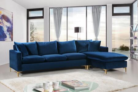 Meridian 636navysectional Naomi Series Sofa And Chaise Velvet Sofa Appliances Connection