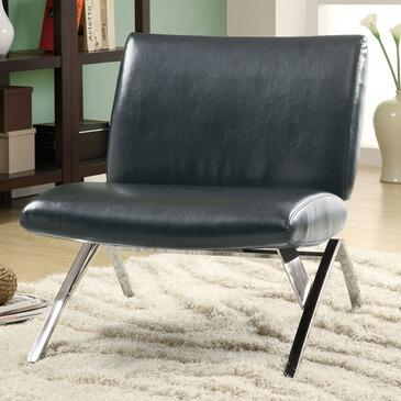 Monarch I 807 Accent Chair, with Oversized Seating, Chrome Metal Legs, and Faux Leather Upholstery