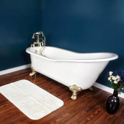 "Cambridge ST617DH Cast Iron Slipper Clawfoot Tub 61"" x 30"" with 7"" Deck Mount Faucet Drillings"