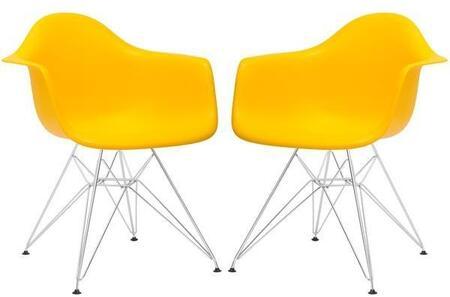 EdgeMod EM111CRMYELX2 Padget Series Modern Metal Frame Dining Room Chair