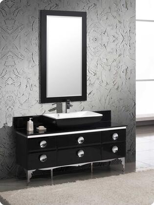 Fresca Moselle Collection FVN771XBL Modern Glass Bathroom Vanity with Mirror, Soft Closing Drawers and Tempered Glass Top