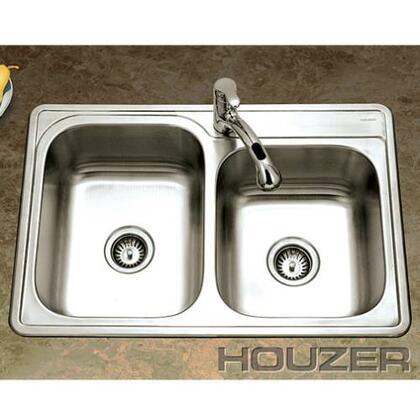 "Houzer ISL-3322BSX-1 Glowtone 33"" Topmount Stainless Steel 60/40 Double Bowl Kitchen Sink: Satin Finish"