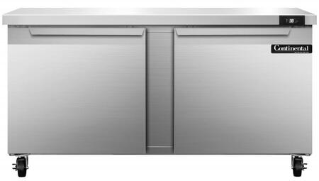 "Continental Refrigerator SW6 60"" Worktop Refrigerator with 2 Doors, 17 Cu. Ft. Storage Capacity, Stainless Steel Exterior and Interior, 5"" Casters, Interior Hanging Thermometer, and R134-a Refrigerant, in Stainless Steel"