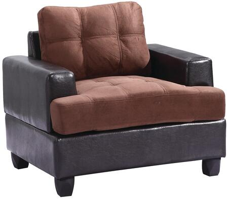 "Glory Furniture 38"" Armchair with Tufted Seating, Track Arms, Removable Back, Suede and PU (Bycast) Leather Upholstery in"