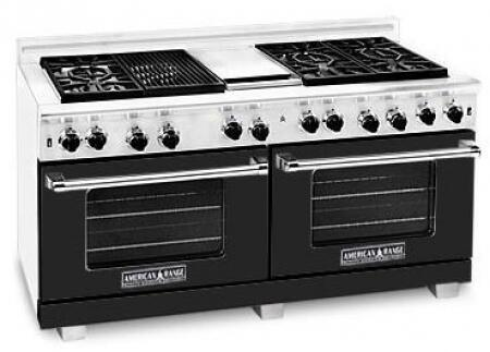 "American Range ARR6062GRLBK 60"" Heritage Classic Series Gas Freestanding Range with Sealed Burner Cooktop, 4.8 cu. ft. Primary Oven Capacity, in Black"