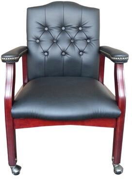 "Boss B958M 36"" Traditional Guest Chair with  Mahogany Finished Hardwood, Button Tufted Styling, and Nail Head Trim"