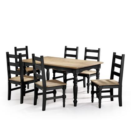 """Manhattan Comfort Jay 3.0 Collection CSJ30X 60"""" 7-Piece Solid Wood Dining Set with 6 Chairs and 1 Table in"""