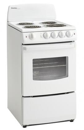 """Danby DER20 20"""" Electric Range With 2.4 Cu. Ft. Oven Capacity, One 8"""" Coil, Three 6"""" Coil Elements, Front Mount Push, Four Adjustable Legs and Turn Safety Knobs, in White"""
