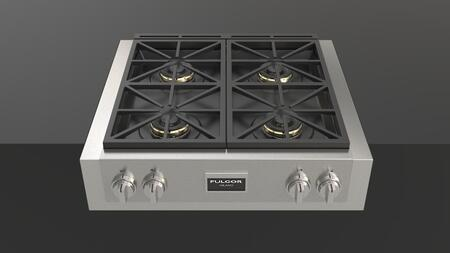 Fulgor Milano F6GRTxS1 600 Series Gas Range Top with x Sealed Dual Flame Burners, True Low Simmer, Matte Finish on Cast Iron Grates and Burner Caps, in Stainless Steel