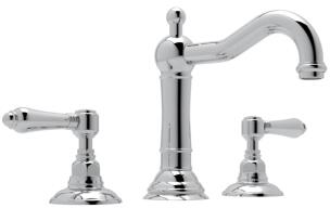 Rohl A1409LM Italian Country Bath Collection Acqui Deck Mounted Column Spout Lavatory Faucet with 1.2 GPM Water Flow and Metal Levers in
