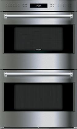 """Wolf DO30XE/S/XH 30"""" E Series Transitional Double Oven With 9 cu. ft. Capacity, Dual Convection, Blue Cobalt Interior, Broiler Pan, Probe, 2 Oven Fans, And 10 Cooking Modes: Stainless Steel"""