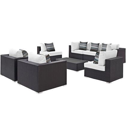 Modway Convene Collection 8 PC Outdoor Patio Sectional Set with Powder Coated Aluminum Frame, Stainless Steel Legs and Synthetic Rattan Weave Materials in Espresso Color