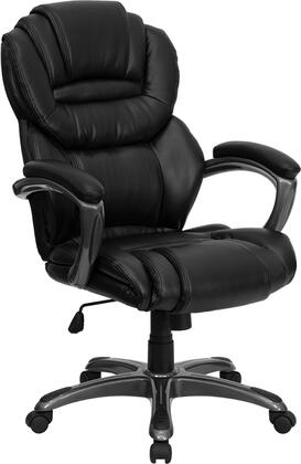 "Flash Furniture GO-901-XX-GG 17.75"" High Back Leather Executive Office Chair with Leather Padded Loop Arms, Built-In Lumbar Support, Tilt Tension Control, Tilt Lock Mechanism, and Dual Wheel Casters"
