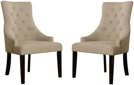 "Acme Furniture Drogo Collection 38"" Set of 2 Side Chairs with Nailhead Trim, Button Tufted Back, Tapered Legs and Fabric Upholstery in"