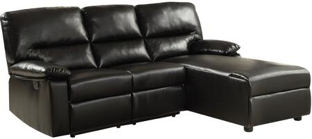 "Acme Furniture Artha 82"" Sectional Sofa with Rigt Arm Facing Loveseat, Left Arm Facing Chaise, Motion Mechanism and Bonded Leather Match Upholstery in"