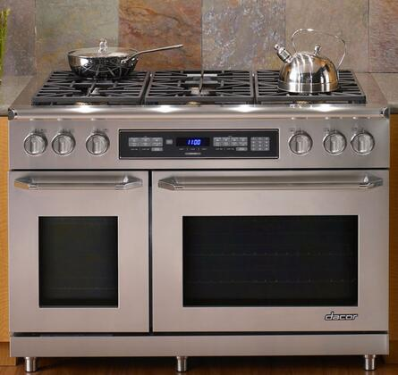 """Dacor ER48DC 48"""" Dual Fuel Range with 4.6 Cu. Ft. Primary Oven Capacity, Perma-Flame Technology, 6 Sealed  Burners, TiltVue Control Panel and RapidHeat Bake Element: Color Match"""