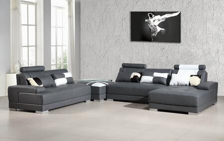 VIG Furniture VGEV5005- Divani Casa Phantom Sectional Sofa with Ottoman, Pillows, Glass Top Metal Frame End Table, Tufted Seats and Stitched Detailing