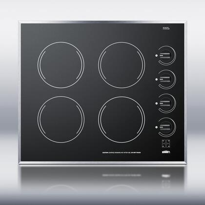"Summit CR424 24"" Smoothtop Electric Cooktop With 4 1200W Burners, Push To Turn Conrols, Push To Turn Knobs, Stainless Steel Trim, Schott Ceran Surface, E.G.O. Burners, In"