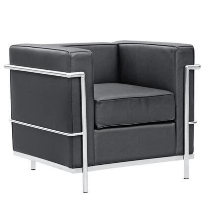 Fine Mod Imports FMI1156BLACK Lounge Leather Stainless Steel Frame Accent Chair