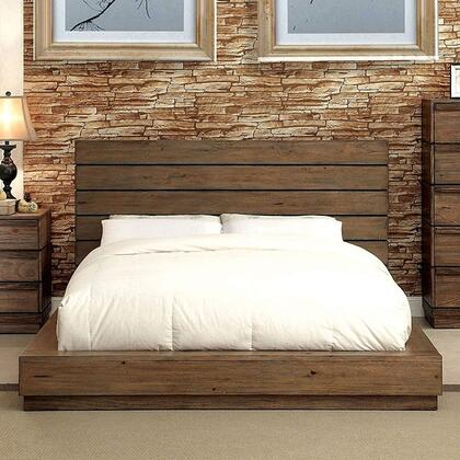 Furniture of America Coimbra CM7623X Bed with Transitional Style, Low Profile Bed with Plank Panel Headboard in Rustic Natural Tone