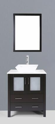 "Bosconi AB130SXX XX"" Single Vanity with Phoenix Stone Counter Top, Rectangle Ceramic Vessel Sink, Matching Mirror, X Soft Closing Drawers, 2 Doors, and Silver Hardware Finish in Espresso Finish"