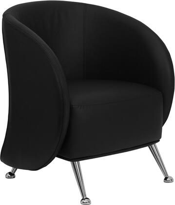 Flash Furniture HERCULES Jet Series ZB-JET-855-XX-GG Leather Reception Chair with Curved Arms, Taut Seat and Back, and Protruding Legs with Half-Rounded Feet
