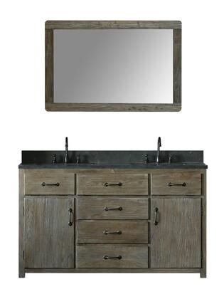 "Legion Furniture WN7360+ 60"" Solid Elm Double Sink Vanity with Mirror, Natural Moon Stone Top, Six Drawers, Two Doors and Oil Rubbed Bronze Faucet in Brushed Natural"