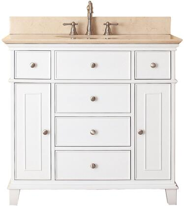 "Avanity Windsor Collection WINDSOR-VS36-WT-X 36"" Sink Vanity with X Top, Undermount Sink, 2 Soft-Close Doors, 2 Interior Shelves and 6 Drawers in White"