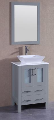 """Bosconi AGR124SX XX"""" Single Vanity with Phoenix Stone Top, Flared Square White Ceramic Vessel Sink, F-S02 Faucet, Mirror, 2 Doors and X Drawers in Grey"""