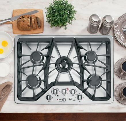 "GE Cafe CGP350SETSS 30"" Gas Sealed Burner Style Cooktop, in Stainless Steel"