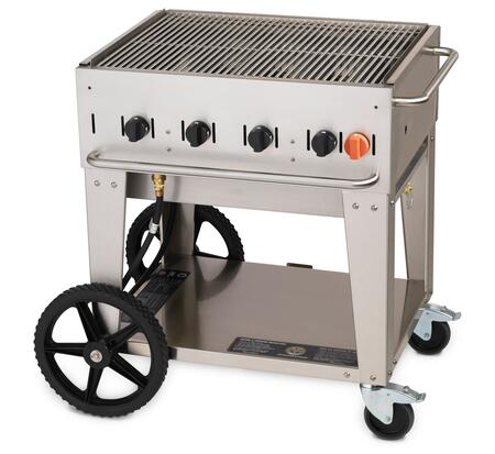 """Crown Verity CV-MCB-30XX 38"""" Wide Mobile Grill with 64,500 BTU/H, 4 Burners, 28"""" Cooking Surface, Two Wheels, Two Lock Casters and Storage Shelf in Stainless Steel"""