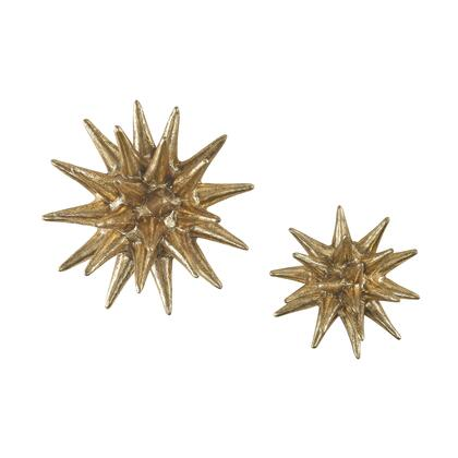 "Sterling Parsec Collection 4"" - 6"" Set of 2 Wall Decors with Geometric Pattern, Spiky Shape and Composite Material in"
