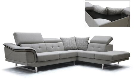 VIG Furniture VGMB1617GRY Divani Casa Gaviota Series Stationary Fabric Sofa