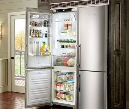 "Liebherr CS131 24"" Star K, Energy Star Bottom Freezer Refrigerator with 13 cu. ft. Capacity, SuperCool, SuperFrost, FrostSafe and NoFrost: Stainless Steel with"