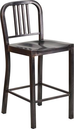 "Flash Furniture CH-31200-24-GN-GG 24"" Counter Height Bar Stool with Vertical Slat Back, Protective Plastic Floor Glides, Footrest and Powder Coat Finish"