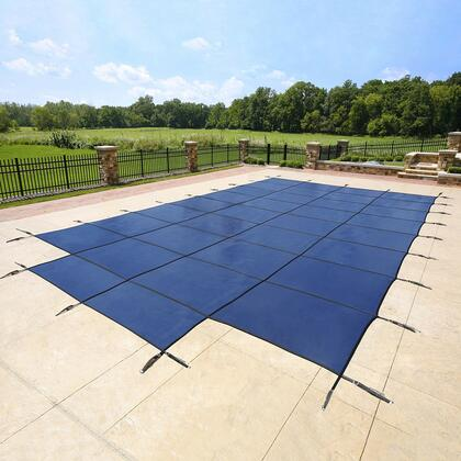 Artic Armor WSXXXBUCENTER Blue 12-Year Mesh Safety Cover For 00' x 00' Rectangular Pool with Center End Step in Blue