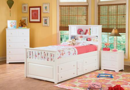 Atlantic Furniture CAP4WH White Captain's Bed with 4 Drawers