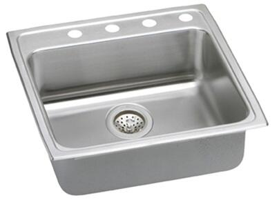 "Elkay LRADQ222265 Gourmet Lustertone Stainless Steel 22"" x 22"" Single Basin Top Mount Kitchen Sink:"