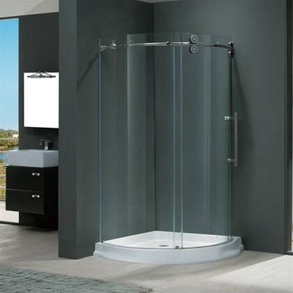 "Vigo VG6031XXCL36WR 36"" x 36"" Frameless Round 5/16"" Shower Enclosure Right Sided Door with White Base:"