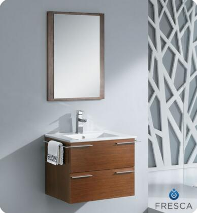 """Fresca Cielo Collection FVN8114 24"""" Modern Bathroom Vanity with Mirror, Integrated Ceramic Countertop and Sink and Soft Closing Drawer in"""