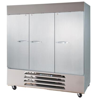 """Beverage-Air HBR72-1 75"""" Horizon Series Three Section [Solid Door] Reach-In Refrigerator, 72 cu.ft. Capacity, Stainless Steel Exterior and Interior, with Bottom Mounted Compressor"""