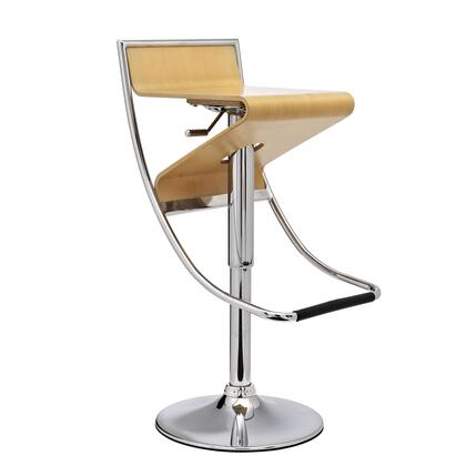 Modway EEI-693 Zig-Zag Bar Stool with Modern Design, Chromed Steel Frame and Base, Hydraulic Adjustable Height, 360 Degree Swivel, Plywood Seat with Attractive Wood Veneer