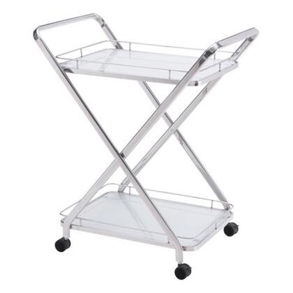 """Zuo 10036A Vesuvius 35"""" Serving Carts with Locking Casters, Slim Profile, and Two Shelves"""
