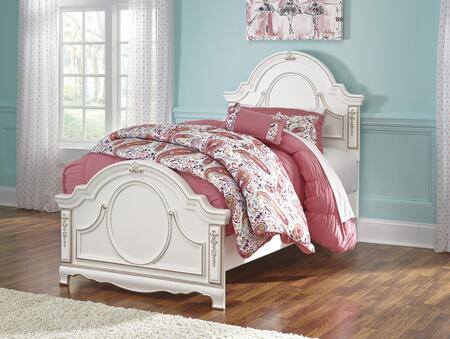Signature Design by Ashley Korabella B355 Panel Bed with French Inspired Design, Ornate Scroll Accents, Decorative Beads and Replicated Oak Grain in White Finish
