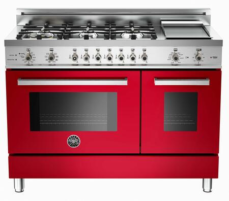 "Bertazzoni PRO486GDFSRO 48"" Professional Series Dual Fuel Freestanding Range with Sealed Burner Cooktop, 3.4 cu. ft. Primary Oven Capacity, in Red"