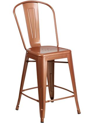 "Flash Furniture ET-3534-24 24"" High Metal Indoor-Outdoor Barstool with Curved Back, Cross Brace Under the Seat and Protective Rubber Floor Glides in"