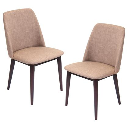 "LumiSource Tintori CHR-TNT Set of (2) 33"" Dining Chair with Woven Fabric Upholstery, Wooden Frame and Tapered Legs in"