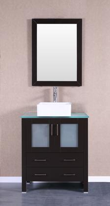 Bosconi Bosconi AB130CBECWGX Single Vanity with Soft Closing Doors , Drawers,Glass Top, Faucet, Mirror in Espresso and White Vessel Square Ceramic Sink